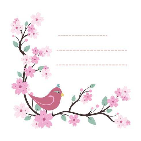 Modèle de bloc-notes charmant avec un design oiseau et fleur vecteur