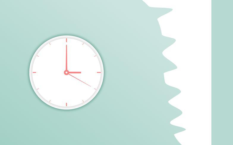 Mur de temps plat icône horloge sur fond bleu doux. Élément de design vectoriel