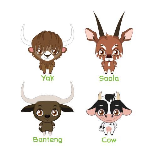 Ensemble d'espèces bovines vecteur