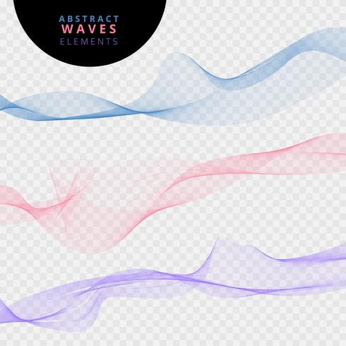 Ensemble de vagues de lignes abstraites sur fond transparent. vecteur