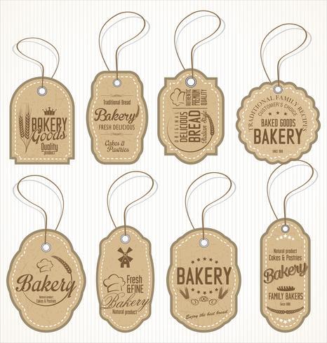 étiquettes rétro boulangerie vecteur