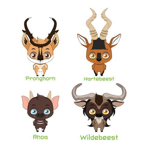 Ensemble de divers animaux à cornes vecteur