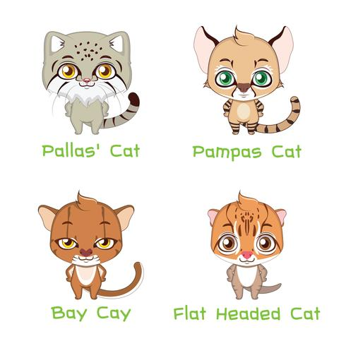 Collection de différentes espèces de chats sauvages vecteur