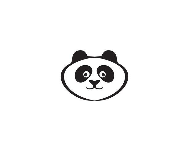 tête de panda logo noir et blanc vecteur