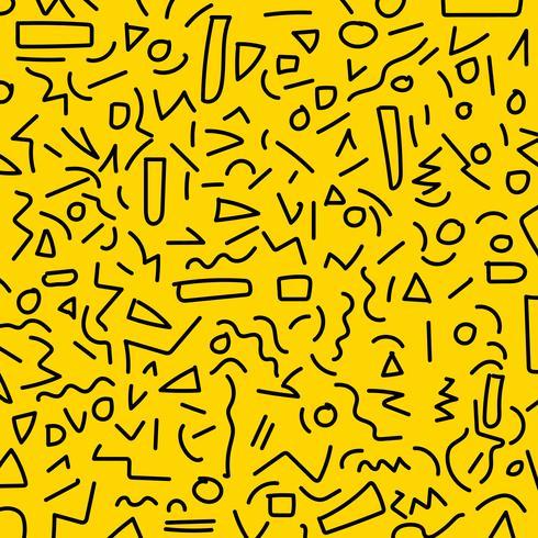 Main dessiner les styles de motif géométrique noir memphis des années 80-90 sur fond jaune. vecteur