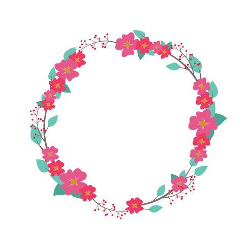 Jolie couronne florale vecteur