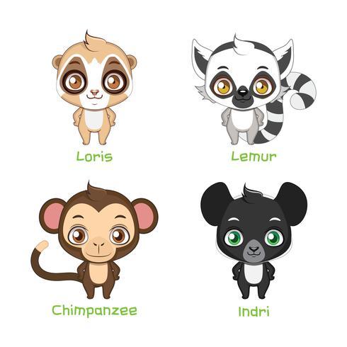 Ensemble d'illustrations de primates vecteur
