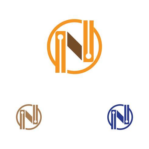 Modèle de logo de lettre N vecteur