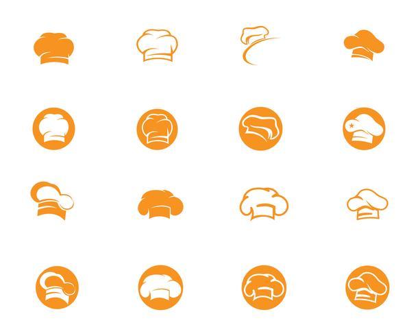 Modèle de logo de chef de chapeau vecteur