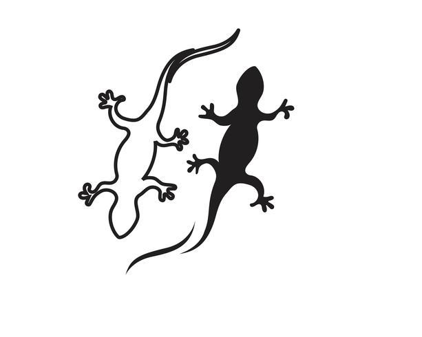 Lézard caméléon gecko silhouette noir vecteur