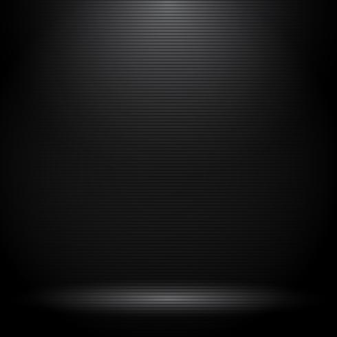 Studio noir avec effets de lumière et texture de lignes horizontales. vecteur