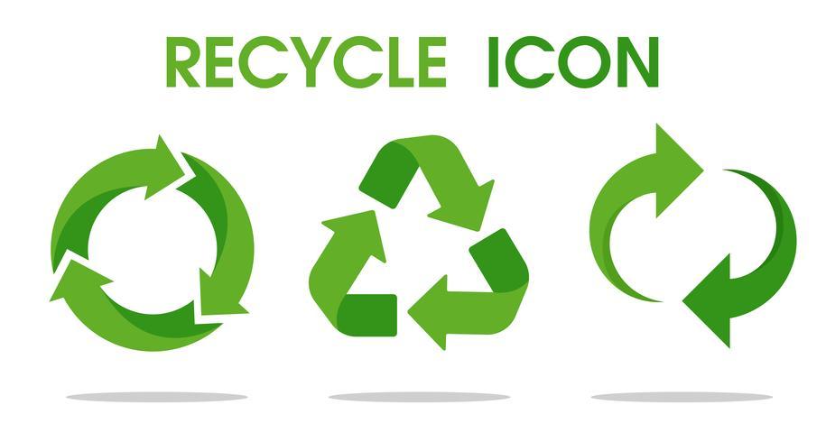 Symbole de flèche de recyclage signifie l'utilisation de ressources recyclées. Icône de vecteur sur fond blanc.
