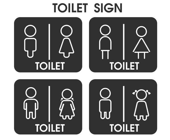 Men and Women Toilet signent des thèmes d'icônes qui semblent simples et modernes. Illustration Vecteur EPS10.