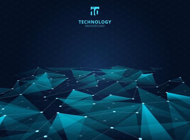 Triangles de couleur bleue de technologie abstraite et faible polygone avec lignes reliant les points structurent la perspective sur fond de grille. vecteur