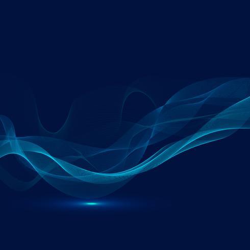 Résumé de la technologie d'éclairage numérique futuriste rougeoyante lumière bleue lignes motif de vague sur fond sombre. vecteur