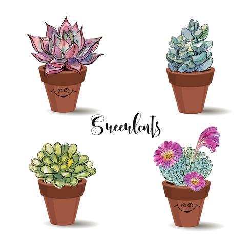 Succulentes dans des pots en argile. Ensemble. Graphiques à l'aquarelle. Vecteur. vecteur