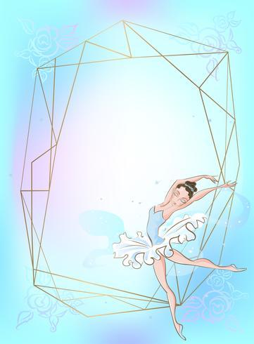 Cadre doré avec une ballerine sur un fond bleu. Vecteur. vecteur
