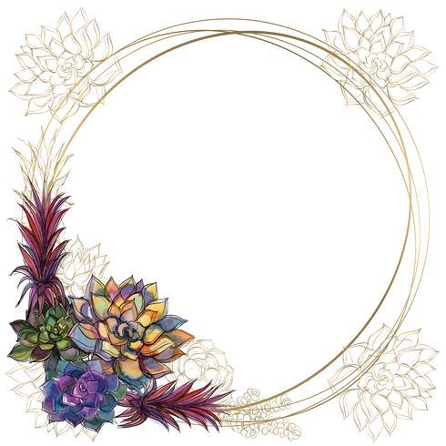 Cadre rond en or avec plantes succulentes. Vecteur. Aquarelle. Graphique vecteur