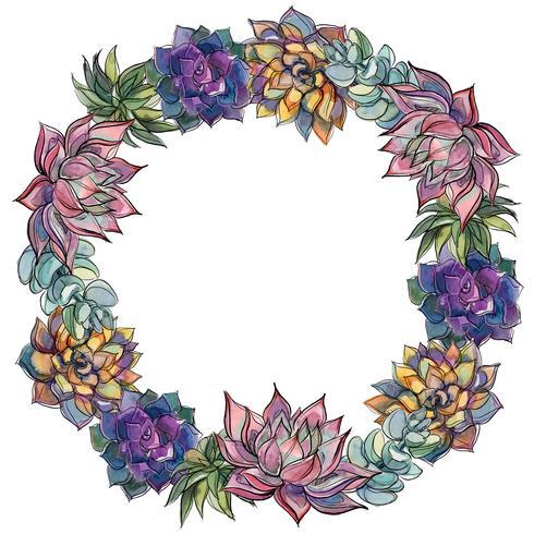 Guirlande de plantes succulentes. Aquarelle. Illustration vectorielle vecteur