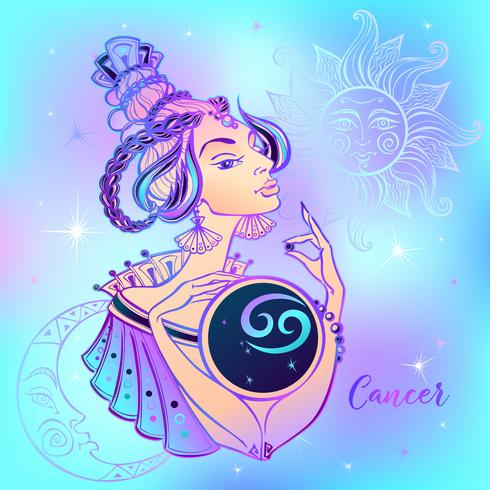 Signe du zodiaque Cancer belle fille. Horoscope. Astrologie. vecteur