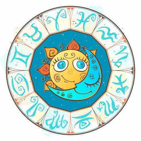 Soleil et lune dans le cercle zodiacal. Style mignon des enfants. Vecteur. vecteur