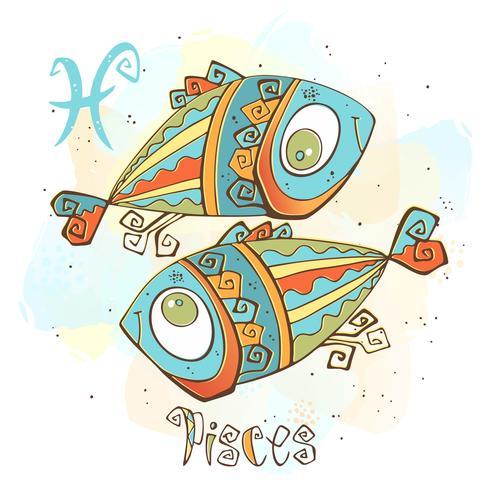 Icône de l'horoscope pour enfants. Zodiac pour les enfants. Poissons Signe. Vecteur. Symbole astrologique en tant que personnage de dessin animé. vecteur