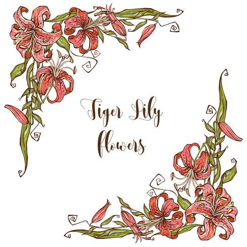 Cadre décor avec des fleurs de lis. Coin décoratif. Vecteur