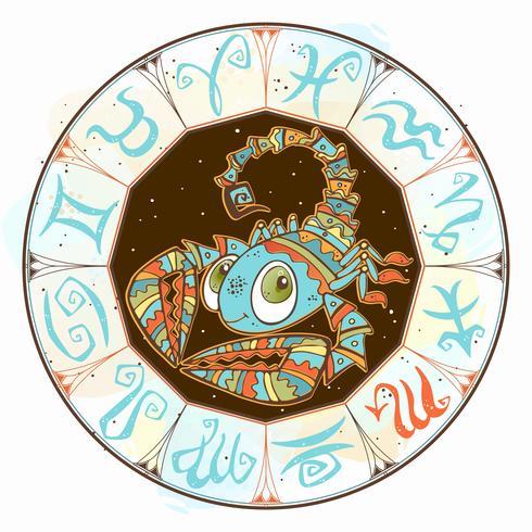 Icône de l horoscope pour enfants. Zodiac pour les enfants. Signe du Scorpion. Vecteur. Symbole astrologique en tant que personnage de dessin animé vecteur