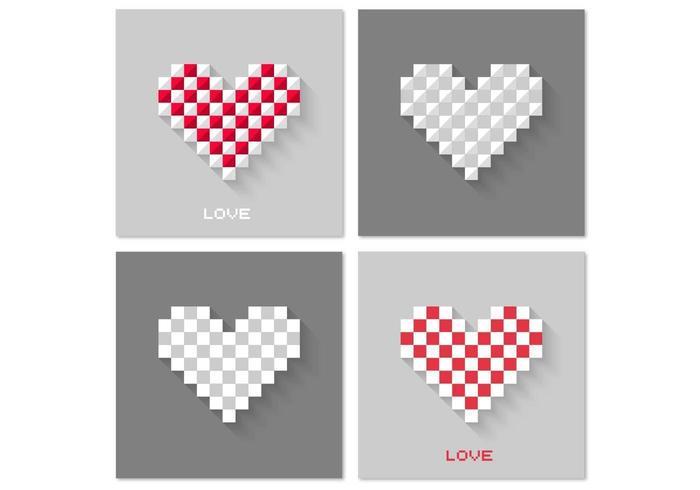 Pack d'arrière-plan Vector Pixel Heart