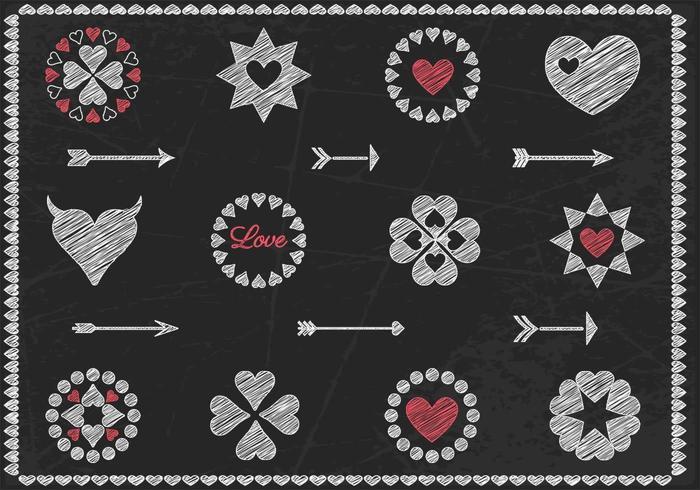 Vector de coeur à la craie et jeu de vecteur de flèche