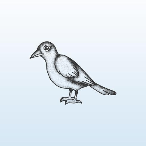 Ligne d'oiseaux ombrageant stipple vecteur