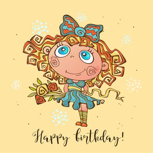 Bon anniversaire. Carte d'anniversaire pour les filles à l'occasion. Vecteur