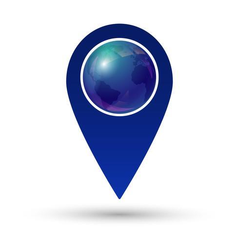 Pointeur de carte avec l'icône de globe terrestre vecteur