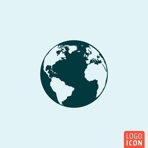 Conception de la planète Terre icône mnimal vecteur