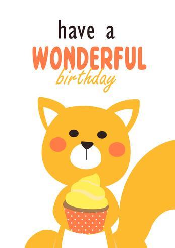Écureuil mignon carte d'anniversaire vecteur