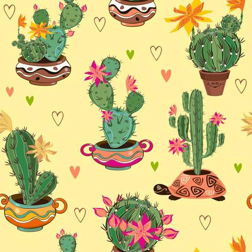 Modèle sans couture décoratif dessiné main avec cactus et plantes succulentes. vecteur