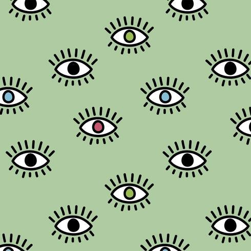 Motif mignon avec des yeux vecteur