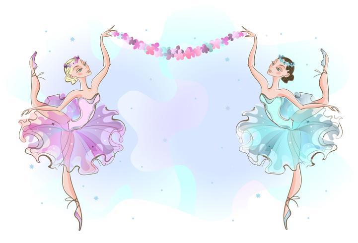 Cadre carte postale avec deux danseuses ballerines. Vecteur
