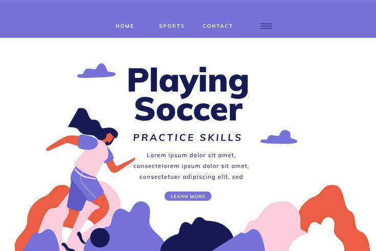 Page d'atterrissage de football avec une femme jouant au football vecteur