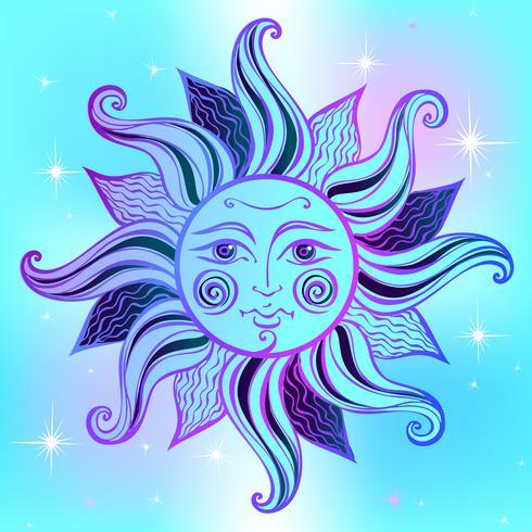 Soleil. Style vintage. Astrologie. Ethnique. Païen. Style Boho. Vecteur