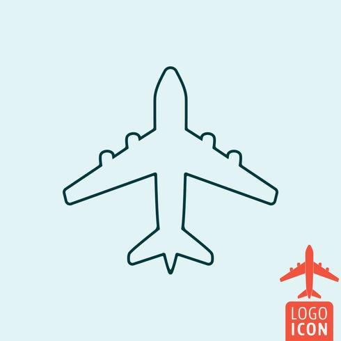Icône d'avion de ligne. Conception de ligne minimale de symbole d'avion vecteur