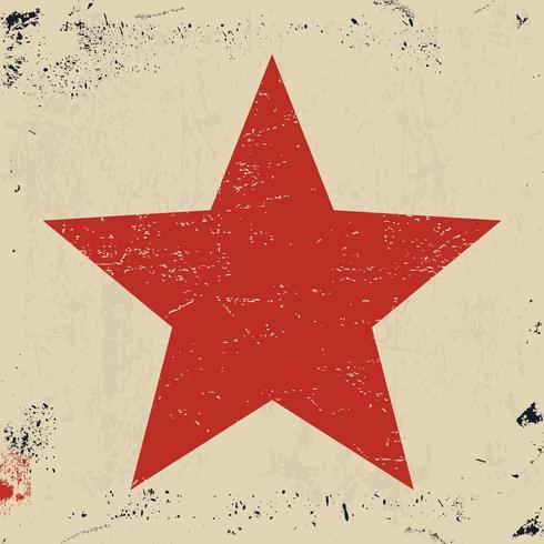 Étoile rouge grunge vecteur