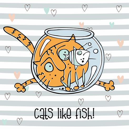 Chat gai regardant les poissons dans l'aquarium. Style mignon de griffonnage. Fond rayé. Vecteur