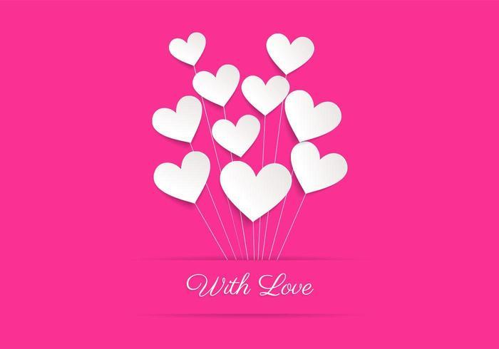 Fond d'écran de vecteur d'amour de ballon de coeur rose