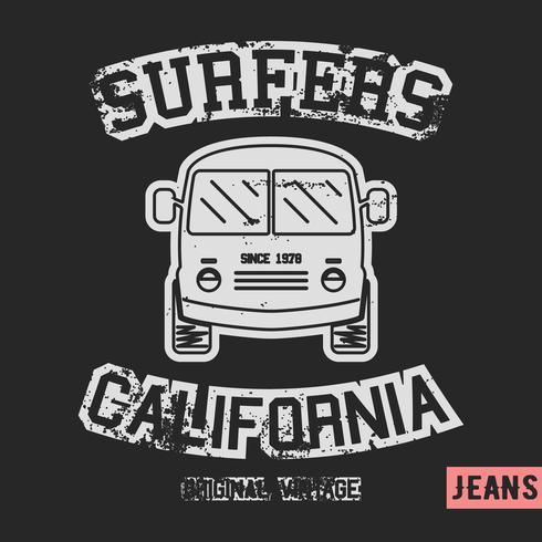 Timbre vintage surfer bus vecteur