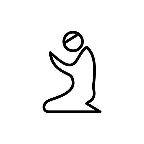 Icône de contour de prière musulmane. Kareem Ramadan vecteur
