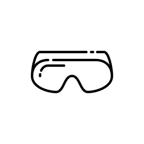 Icône de contour de lunettes de sécurité vecteur