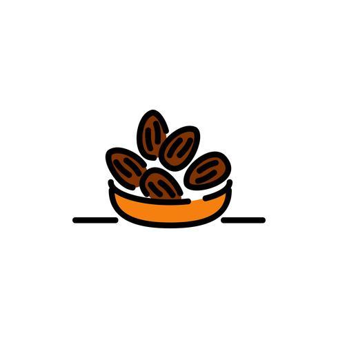 dates arabes remplissent icône de contour. Kareem Ramadan vecteur