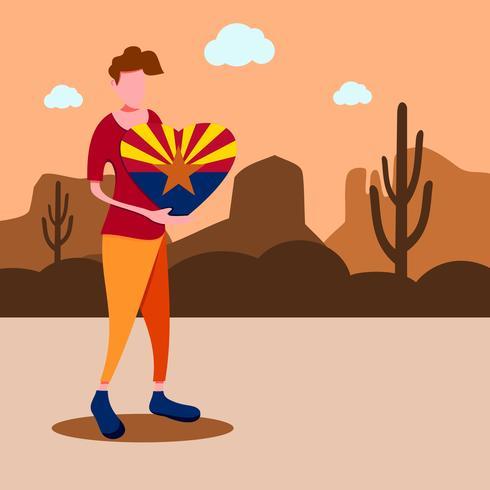 Un homme tenant un signe d'amour arizona. Voyage en Arizona vecteur
