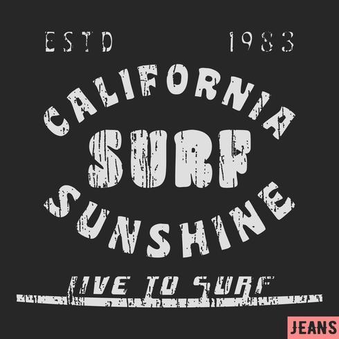 Timbre vintage de surf en Californie vecteur